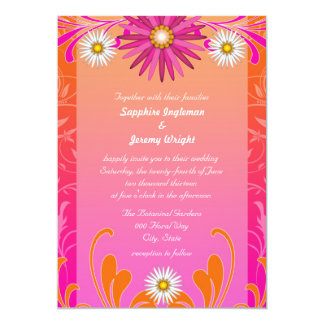 Tangerine and Hot Pink Floral Wedding Invites