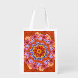 Tangerine and Lavender Kaleidoscopic Reusable Grocery Bag
