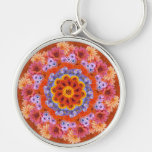 Tangerine and Lavender Kaleidoscopic Silver-Colored Round Keychain