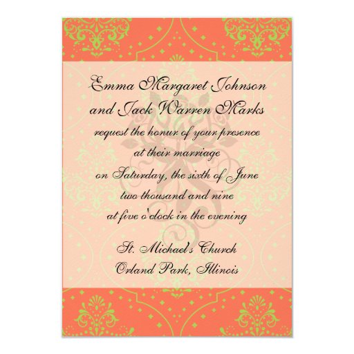 tangerine and lime green henna style damask 4.5x6.25 paper invitation card