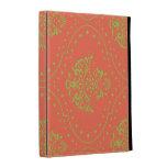 tangerine and lime green henna style damask iPad folio case