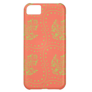 tangerine and lime green henna style damask case for iPhone 5C