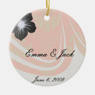 tangerine and lime green henna style damask ceramic ornament