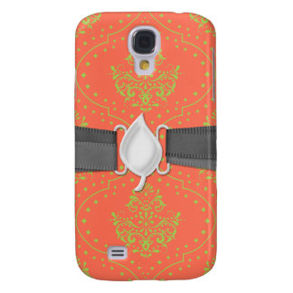 tangerine and lime green henna style damask galaxy s4 cover