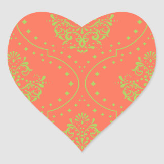 tangerine and lime green henna style damask heart sticker