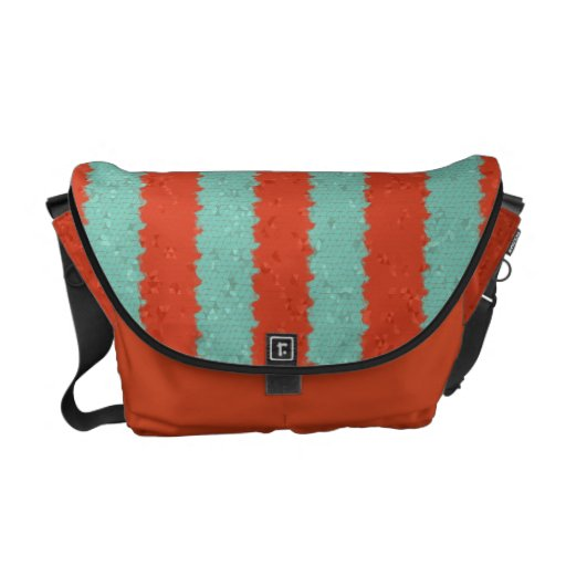Tangerine and Mint Mosaic Courier Bag