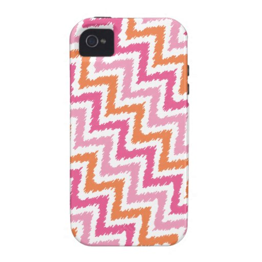 Tangerine and Pink Diagonal Zigzag Ikat Pattern iPhone 4 Covers