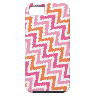 Tangerine and Pink Diagonal Zigzag Ikat Pattern iPhone SE/5/5s Case
