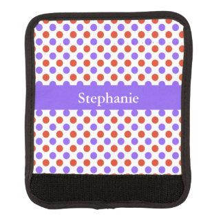 Tangerine and Purple Polka Dots Luggage Handle Wrap