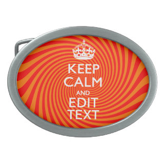Tangerine and Red Swirl Decor for Your Keep Calm Oval Belt Buckle