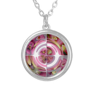 Tangerine and Rose Abstract Collage Silver Plated Necklace