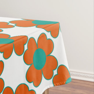 Tangerine and Turquoise Water Heart Flowers Tablecloth