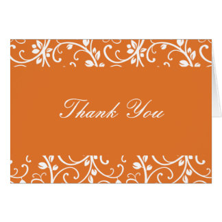 Tangerine and White Floral Vine Thank You Note Card