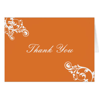Tangerine and White Flourish Thank You Note Card