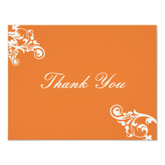 Tangerine and White Flourish Thank You Note 4.25x5.5 Paper Invitation Card