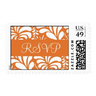 Tangerine and White RSVP Fern Flora Postage