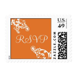 Tangerine and White RSVP Flourish Postage