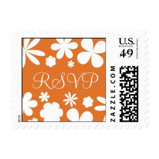 Tangerine and White RSVP Flower Power Postage