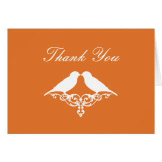 Tangerine and White Sparrows Thank You Note Card
