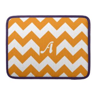 Tangerine and White Zigzag Monogram Sleeves For MacBooks