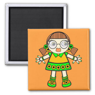 tangerine baby 2 inch square magnet