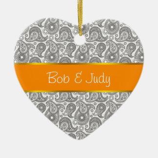 Tangerine Black Paisley Ceramic Ornament