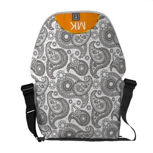 Tangerine Black Paisley Courier Bag