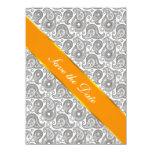 "Tangerine Black Paisley 5.5"" X 7.5"" Invitation Card"