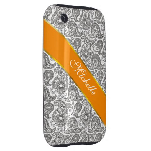 Tangerine Black Paisley iPhone 3 Tough Covers