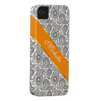 Tangerine Black Paisley iPhone 4 Case-Mate Case