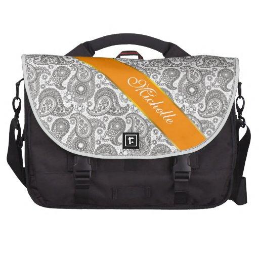 Tangerine Black Paisley Bag For Laptop