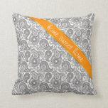 Tangerine Black Paisley Pillow