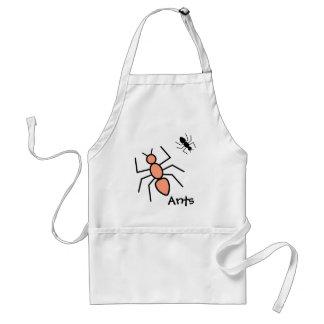 Tangerine & Black Vector Ants Adult Apron
