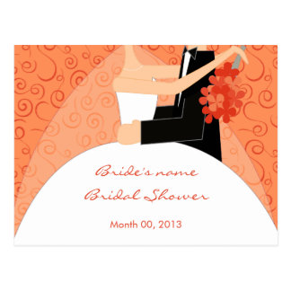 Tangerine Bridal Shower Advice Cards Postcard