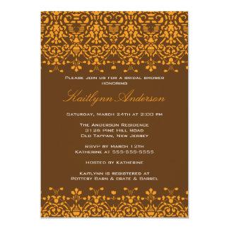 Tangerine & Brown Damask Bridal Shower Invitation
