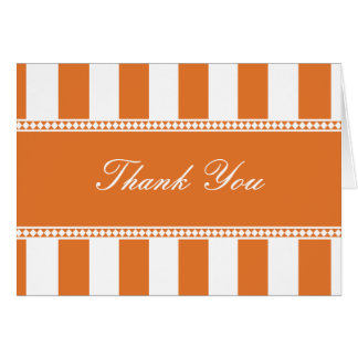 Tangerine Cafe Stripes Thank You Note Card