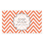 Tangerine Chevron Filigree Hair Stylist Cards Double-Sided Standard Business Cards (Pack Of 100)