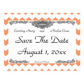 Tangerine Chevron Save The Date Post Cards