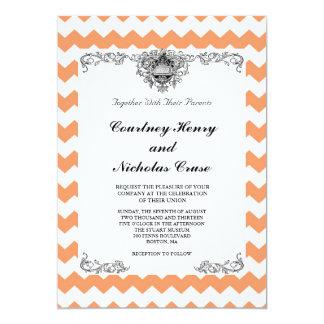 Tangerine Chevron Wedding Invitations