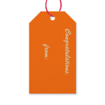 Tangerine-Colored Congratulations (gold script) Gift Tags