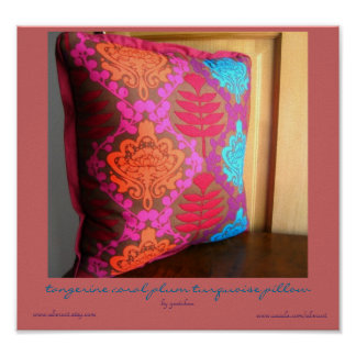 Tangerine Coral Plum Turquoise Pillow Poster
