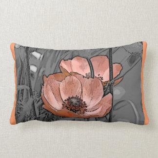 Tangerine Cosmos flowers Lumbar Pillow