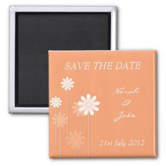 Tangerine Daisy Wedding Save The Date Magnet