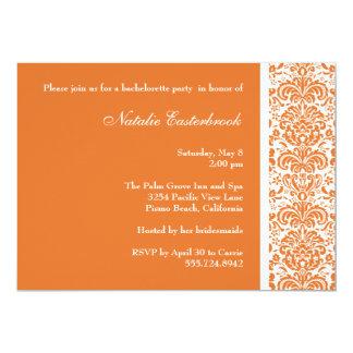 Tangerine Damask Bachelorette Party Invitation