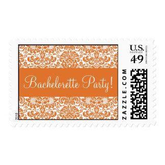 Tangerine Damask Bachelorette Party Postage