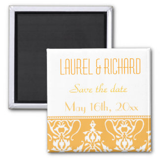 Tangerine Damask Wedding Magnets