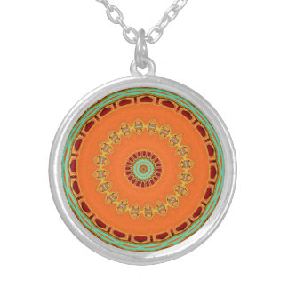 Tangerine Dream Mandala Silver Plated Necklace