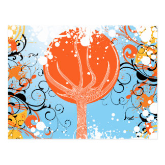 Tangerine Dreams Abstract Artwork Post Card
