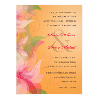 Tangerine Floral Fall Wedding Invitations