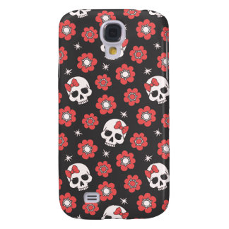 Tangerine Floral Goth Skulls Galaxy S4 Covers
